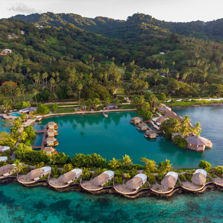 Overwater view of Koro Sun Resort