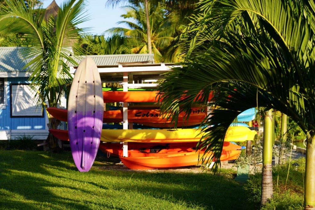 Kayaks for rent at Koro Sun Resort
